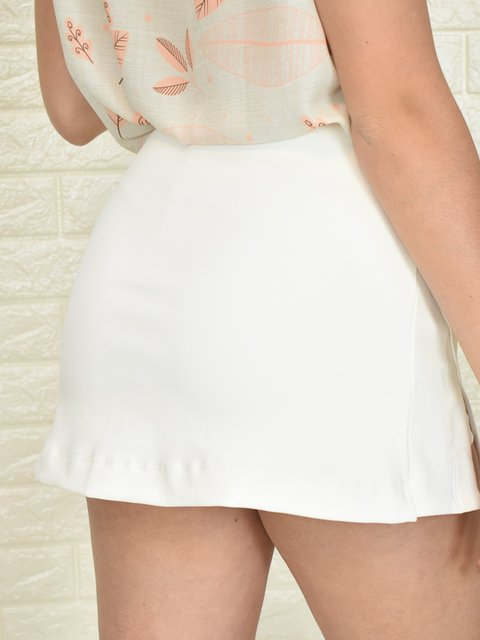 Short Saia Fenda Bilateral Off White
