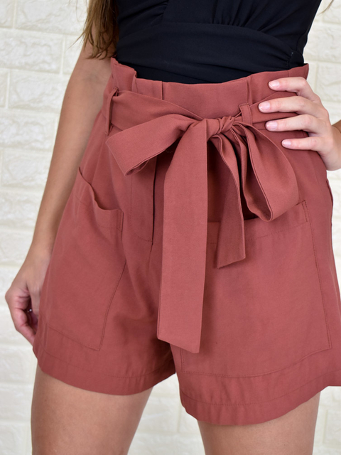Short Clochard Com Bolsos Guava