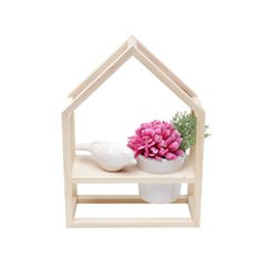 PRATELEIRA MADEIRA COM CACHEPOT  BIRD HOUSE BEGE - Kazii Home Fashion