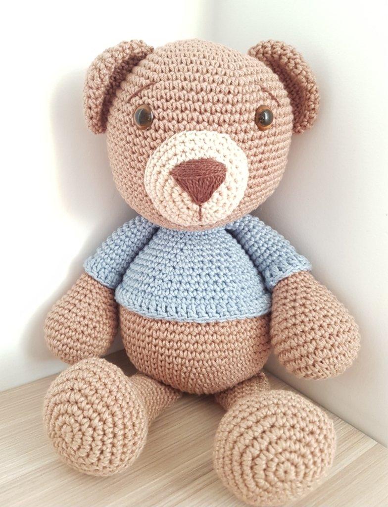 Urso De Crochê Amigurumi Azul Bebe Menino - R$ 55,00 em Mercado Livre | 1024x784