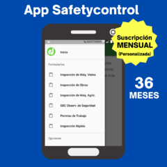 App Safetycontrol (Plan 36 Meses para 1 Usuario)
