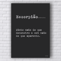 Placa frase signo escorpião