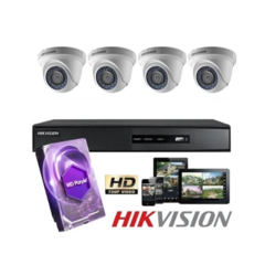 Kit 4 Camaras Domo + DVR + Disco Rigido