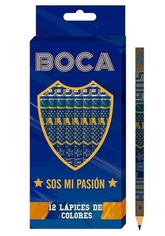 Set De Lapices De Colores X 12 Oficial Boca Juniors