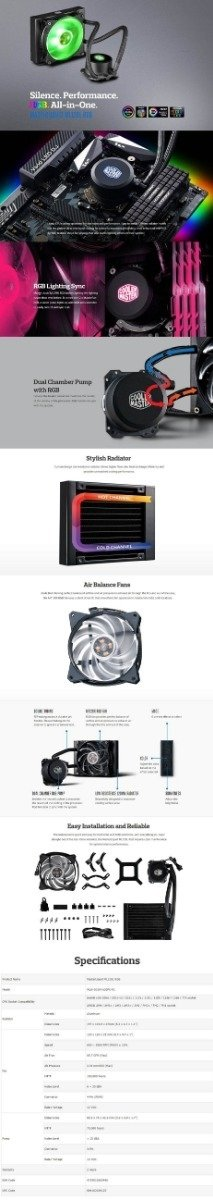 Water Cooling Cooler Mastar Liquid Ml120l Rgb - Educa Informatica
