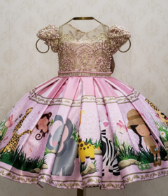 Pink and Gold Safari Custom Dress