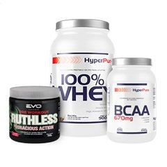 COMBO HP ADRENALINA 100% WHEY PROTEIN 900G + RUTHLESS VORACIOUS 250G + BCAA 670MG 240 TABS