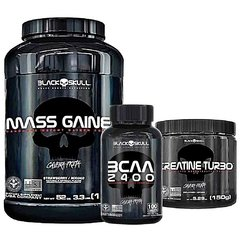 COMBO BLACK SKULL MASS GAINER 1.5KG + BCAA 2400 120 CAPS + CREATINA TURBO 150G na internet