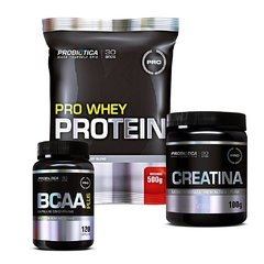 COMBO PRO WHEY PROTEIN 500G + CREATINA MICRONIZADA 100G + BCAA PLUS 120 CAPS - BNGM SUPLEMENTOS