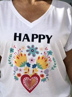 Remera escote V Happy flores (Outlet)