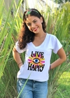 Remera escote V Live Happy ojo (Outlet)