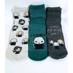 Kit com 3 pares de meias Comensais da Morte - Harry Potter