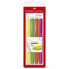 Marca texto grifpen 4 cores fluorescentes faber-castell