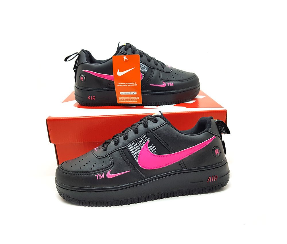 nike air force preto e rosa