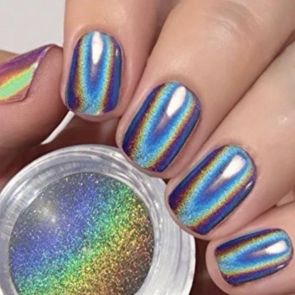 Polvo Polimero Holografico Para Uñas Efecto Espejo Manicuria
