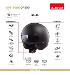 Casco Abierto Ls2 Of 599 Spitfire Doble Visor Negro Mate - Cycles Motoshop