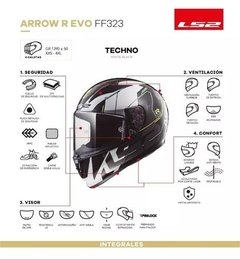 Imagen de Casco Moto Integral Ls2 323 Arrow Rapid Evo Techno Cycles
