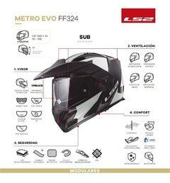 Casco Ls2 324 Rebatible Metro Evo Sub Brilla Oscuridad Cycle en internet