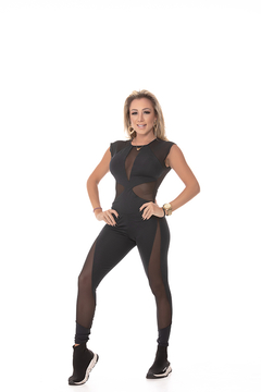 MACACÃO BONNA - MANGUINHA PRETO - People Fit - Moda Fitness - Atacado e Varejo