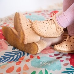 Image of Kid's Pelota Lace-up Slippers Natural