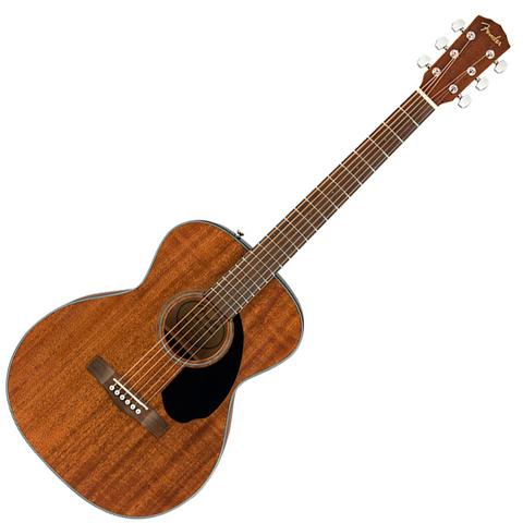 Violão Fender modelo Concert. Fundo branco. O violão tem acabamento na cor de madeira fosca um pouco escura.