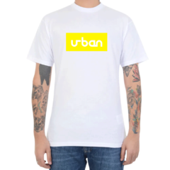 Camiseta Urban Collection Logo In Box - Branco C/Amarelo (Masculina)
