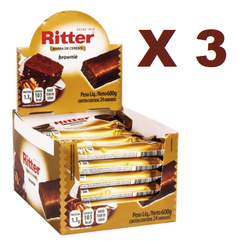 3 BARRA CEREAL BROWNIE CHOC 25G 24UN RITTER