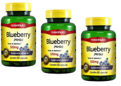 3 Blueberry (Mirtilo) 60 Cápsulas 500mg Maxinutri