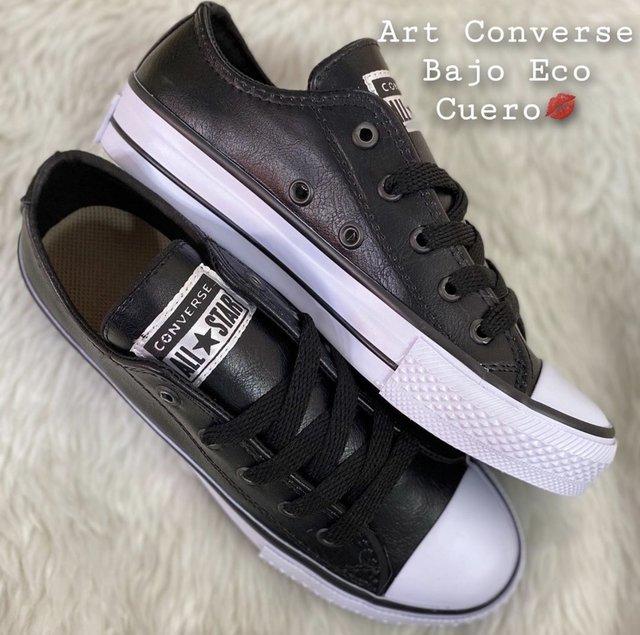 preocuparse Remisión dañar  Converse Eco Cuero Negro Suela Baja - Isira clothes