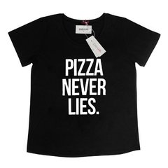 T-shirt Pizza Never Lies - Preta