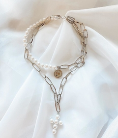 COLLAR PEARL SILVER SET