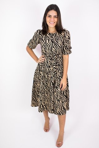 Vestido midi animal print Michele
