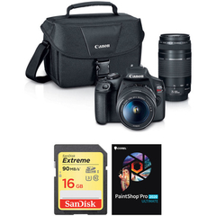 Canon Eos Rebel T7 Dslr Con Lentes 18-55mm Y 75-300mm + Kit + funda - STOCK DISPONIBLE