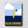 Placa decorativa inspirada nos Beatles com o desenho Yellow Submarine