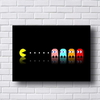 Placa decorativa em preto com os personagens do game Pac-Man