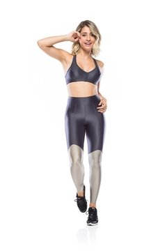 Legging Fitness Glam Perna - Grafite - The Fit Brand