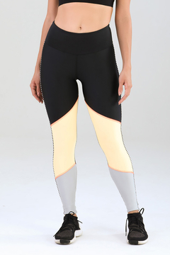 Legging Authenctic Run Blocks - Preta e Laranja na internet