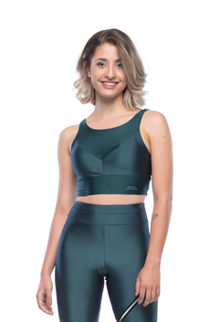 Top Cropped Reflect Verde Escuro - comprar online