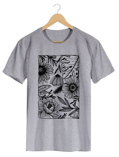 Camiseta Masculina Marina - One line many flowers - Shop Cult - loja online