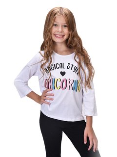 Remera UNICORNS Multicolor Blanco