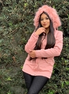 Parka Forro Pelúcia Capuz Rose Planet Girls