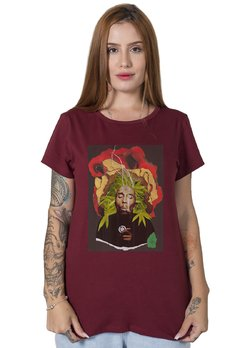 Camiseta Feminina Bob Marley Collage na internet