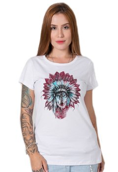 camiseta feminina branca indian wolf