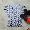 T-shirt Blusinha Camiseta Feminina Básica Branca Face do Mickey