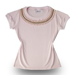 "Blusinha Feminina Viscolycra Rosa Bordada Pérolas ""Magic"""