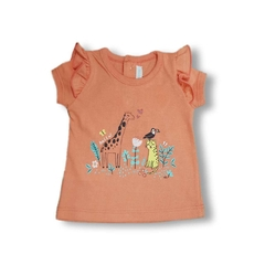 5544C Remera ANIMALITOS coral 0 y 1m