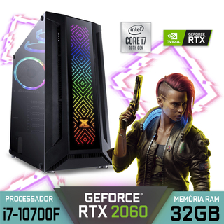 Computador Gamer Alfatec Intel Core i7-10700F RAM 32GB SSD 1TB RTX 2060 Windows 10