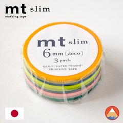 Washi Tape MT Slim(Pack c/ 3) Listras - 6mm x 10M - MTSLIM17