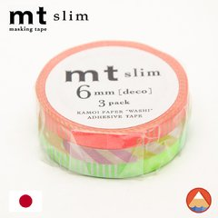 Washi Tape MT Slim(Pack c/ 3) Listras Neon - 6mm x 10M - MTSLIM20