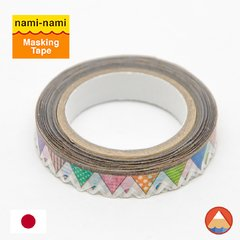 Washi Tape Nami-Nami Bandeirolas Pattern - BORDA RECORTADA - 8mm x 8M